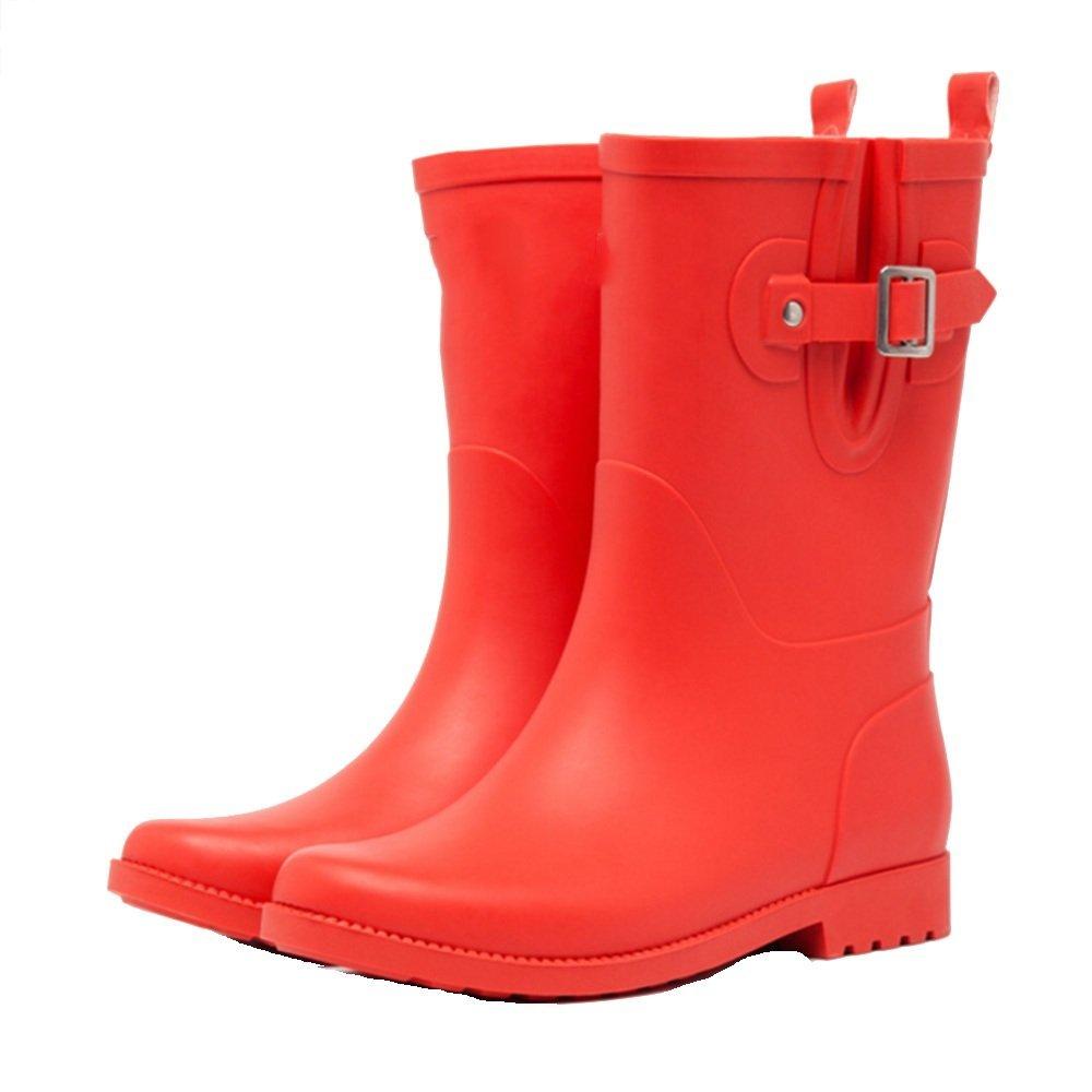 Sexy Frühling und Sommer Matte Gummistiefel Gummistiefel Mode wasserdichte Gummistiefel Gummistiefel Adult Slip Wasser Schuhe in der Röhre Regen Stiefel Frauen ( Farbe   Rot  größe   EU38 UK5.5 CN38 ) 2b8b9a