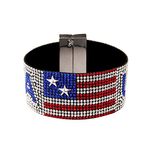 (NASAMA USA Flag Hot Drilling Bracelets Hand Belt Patriotic Classic Bangle Hip Hop Jewelry For Men's Gift (Bracelet))