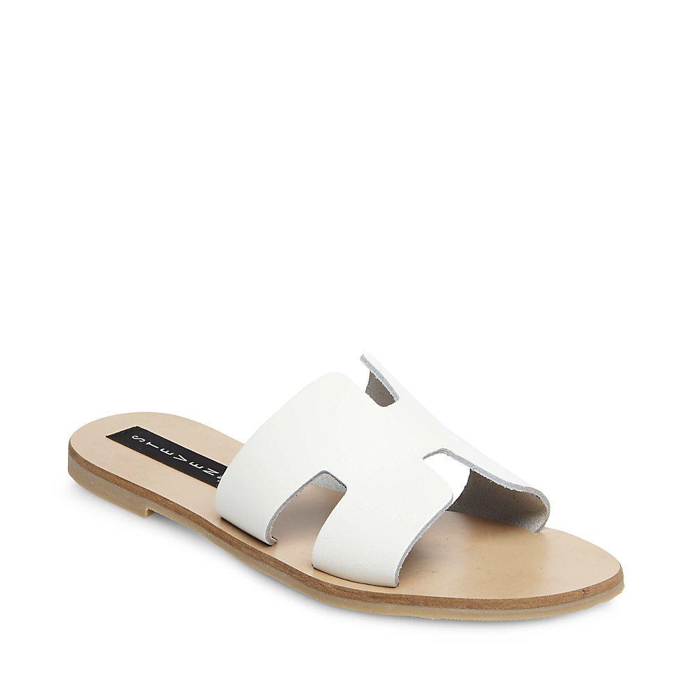 STEVEN by Steve Madden Women's Greece Flat Sandal, White Leather, 8 M US