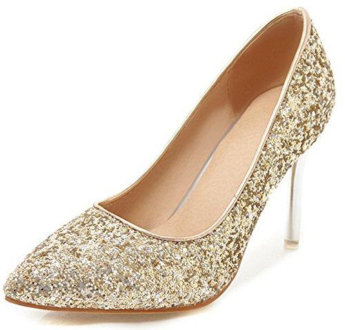 IDIFU Womens Glitter Slip On Pointed Toe Stiletto High Heel Wedding Pumps Shoes Gold RH9Qi