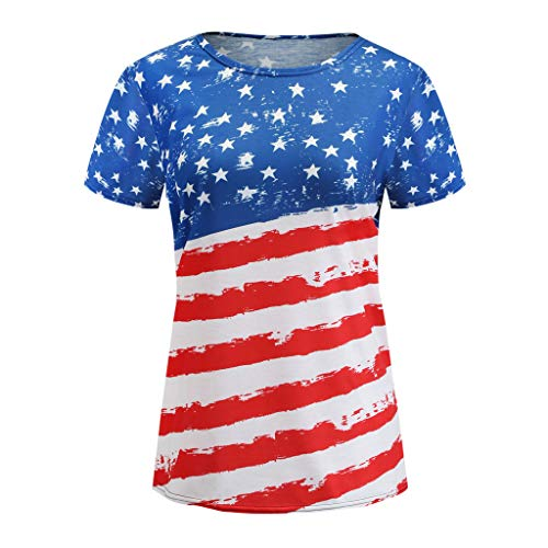 - Independence Day Women's T Shirt,Ladies Patriotic Striped Flag Print O-Neck Short Sleeve Casual Shirt Tops Blouse Red