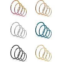 REVOLIA 24Pcs 18-22G 316L Stainless Steel Nose Rings Hoop Cartilage Ear Septum Piercings 6-12mm