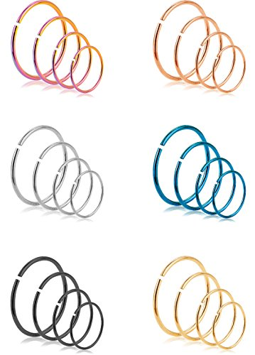 REVOLIA 24Pcs 20G 316L Stainless Steel Nose Rings Hoop Cartilage Ear Septum Piercings - Tiny Nose Piercing