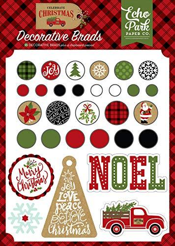 Echo Park Paper Company CCH159020 Celebrate Christmas Decorative Brads chipboard, ()