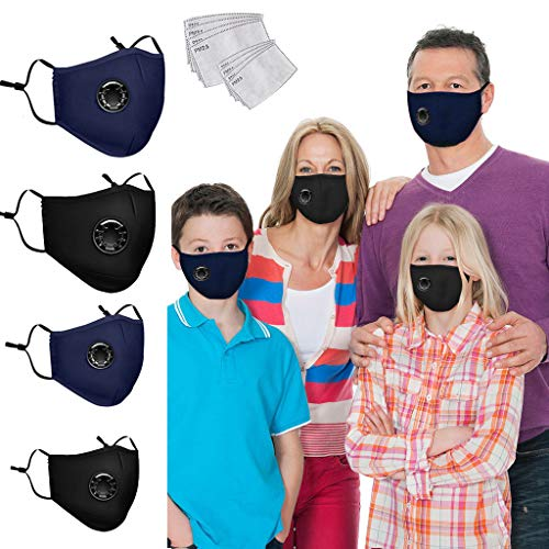 WFeieig Family Face Bandanas Cotton Set With Activated Carbon Filter Replaceable Filters Haze Dust(4PC+ 8 filters)