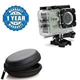 Drumstone 1080P 12MP Sports Helmet Waterproof Camera with Round Earphone Carrying Case Compatible with Xiaomi, Lenovo, Apple, Samsung, Sony, Oppo, Gionee, Vivo Smartphones (One Year Warranty)