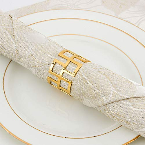 ANPHSIN Set of 8 Napkin Rings Dinning Table Setting for Casual or Formal Occasions- Circle Gold]()