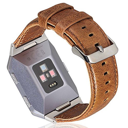 ESeekGo For Fitbit Ionic Band, Genuine Leather Replacment Strap with Silver Adapter for Fitbit Ionic Smart Watch Accessory Wristband Brown (No Tracker) by ESeekGo