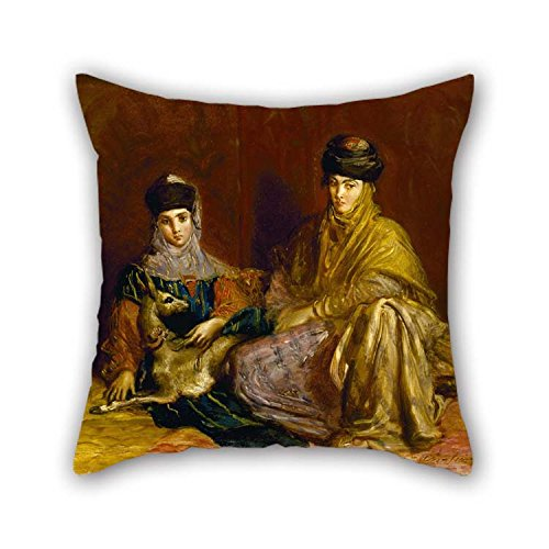 20 X 20 Inches / 50 By 50 Cm Oil Painting Th??odore Chass??riau - Woman And Little Girl Of Constantine With A Gazelle Throw Cushion Covers Twice Sides Ornament And Gift To Home Office Family Weddi