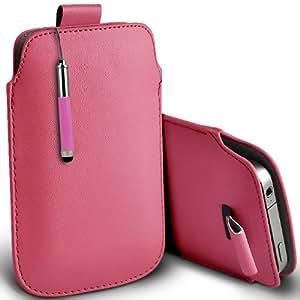 ONX3 Huawei Ascend G740 Leather Slip cuerda del tirón de la PU de protección en la bolsa Quick Case Desc y Mini capacitiva lápiz bolígrafo retráctil (Baby Pink)