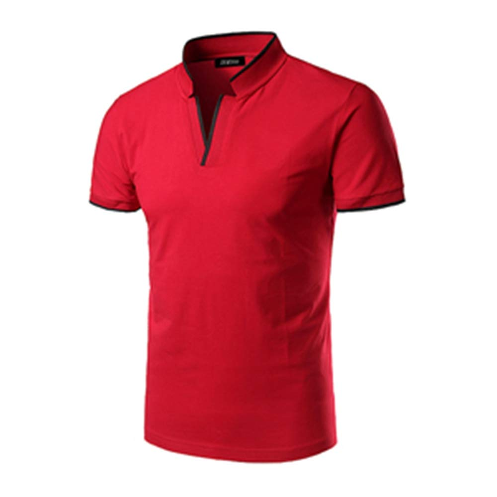 NSJIB Men Polo Shirt Short Sleeve Men Solid Color Casual Polos Slim Fit V-Neck T-Shrt