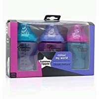 Tommee Tippee Colour My World 3 x 260ml Bottles (Pink/Purple/Turquiose)