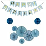 Sogorge Party Decoration 9 Pcs Blue Fiesta Paper Fans Tissue Paper Honeycomb Balls Hanging Decoration for Birthday Wedding Carnival Baby Shower Home Party Supplies Favors Blue Color