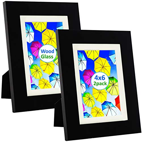 SpoiledHippo 4x6 Picture Frame Black with Mat (2 Pack) - Solid Wood Photo Frames with Glass - Cute Small Frame for 4 by 6 Inch Photos - Wall, Table Top or Desk - Standing - Collage, Family, Postcard