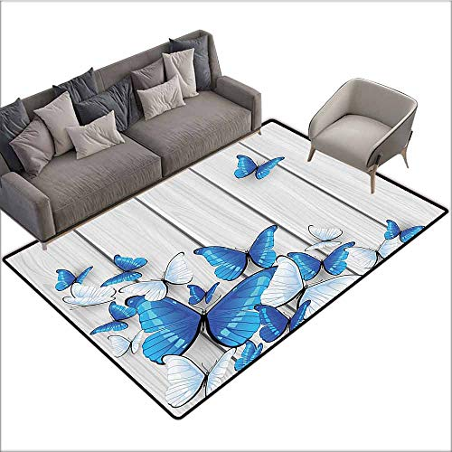 (Polyester Non-Slip Doormat Rugs Colorful Butterflies Decoration,Butterflies On Wooden Background Timber Wall Table Board Traveling Lifestyle 48