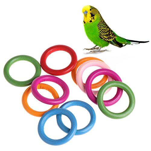 Qupida 10 Pcs/Bag Nature Wood Rings Parrot Toys Accessories Colorful Random Color DIY Ornament (0.790.55 in)