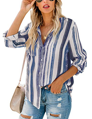 (Lookbook Store Women Casual Striped Button-Up Long Rolled-Up Sleeve Multicolor Shirt Top Navy Blue Size Small (Fits US 4-US 6))