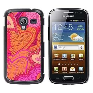 Caucho caso de Shell duro de la cubierta de accesorios de protección BY RAYDREAMMM - Samsung Galaxy Ace 2 I8160 Ace II X S7560M - Drawn Sun Flames Love Pink