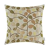 CaliTime Cushion Cover Throw Pillow Case Shell Couch Sofa Home Decoration Luxury Chenille Cute Leaves Both Sides 20 X 20 Inches Ecru Taupe