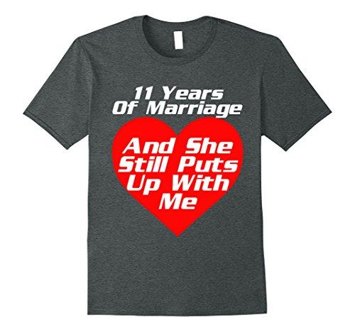 Mens 11 Years 11th Wedding Anniversary Gift Shirt Puts Up With Me XL Dark Heather