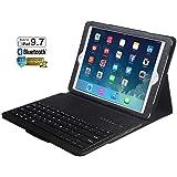 Eoso Keyboard Case for New 2018 iPad, 2017 iPad, iPad Pro 9.7, iPad Air 1 and 2 Folding PU Leather Folio Cover with Removable Bluetooth Keyboard(Black)