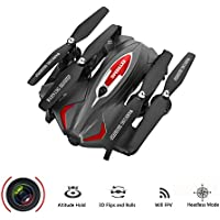 Koeoep Foldable RC Quadcopter Drone with WIFI HD Camera, 2.4G 6-Axis Air Pressure Altitude Hold & Rolls Headless Gravity Sensor Helicopter