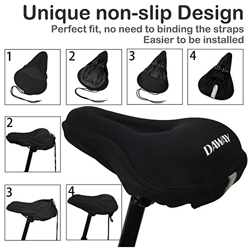 DAWAY Comfortable Bike Seat Cover - C7 Soft Gel & Foam Padded Exercise Bicycle Saddle Cushion Men Women Kids, Fit Spin Class, Stationary Bike, Mountain Road Bikes, Outdoor Cycling, 1 Year Warranty by DAWAY (Image #3)