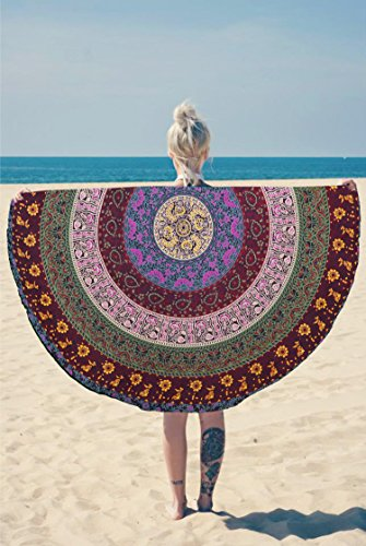 518Gfzw0lZL - Round Wall Tapestry - Hanging MANDALA Tapestries – Bohemian Beach Picnic Blanket – Hippie Decorative & Psychedelic Dorm Decor - 48 Inch (Red) by Craft N Craft India