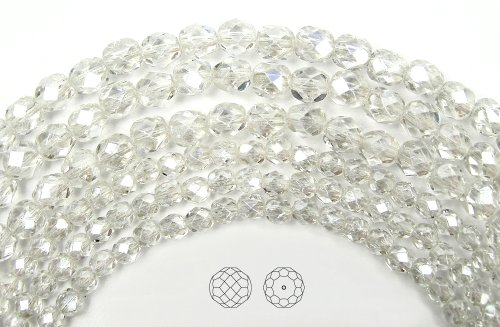 10mm (41) Crystal Hematite (White Luster) coated, Czech Fire Polished Round Faceted Glass Beads, 16 inch (Silver Firepolish Round Beads)