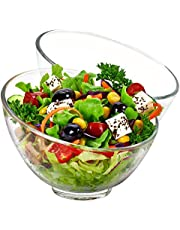 TOSSOW Glass Slant Cut Bowl Set of 2 Clear Glass Fruit Bowl 600ml/20oz Big Mixing Bowl All Purpose Round Serving Bowl Great for Serving Salad Popcorn Dips Condiments Snack Oatmeal and More