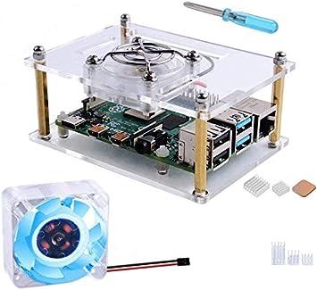 GeeekPi Caja Acrylic para Raspberry Pi 4b / Raspberry Pi 3 b+,Raspberry Pi Estuche con Ventilador de enfriamiento 40X40X10mm Disipador de Calor para Raspberry Pi 3/2 Modelo B/B +: Amazon.es: Electrónica