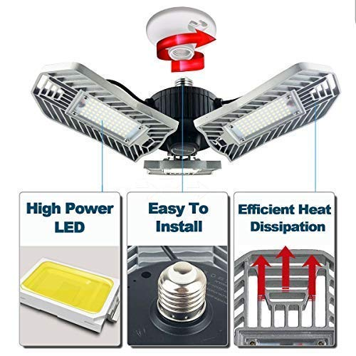 80W LED Garage Lights, Adjustable Trilights Garage Ceiling Lighting