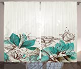 Ambesonne Turquoise Decor Curtains by, Retro Floral Background with Hibiscus Silhouettes Dramatic Romantic Nature Art, Living Room Bedroom Decor, 2 Panel Set, 108 W X 84 L Inches, Beige Teal For Sale
