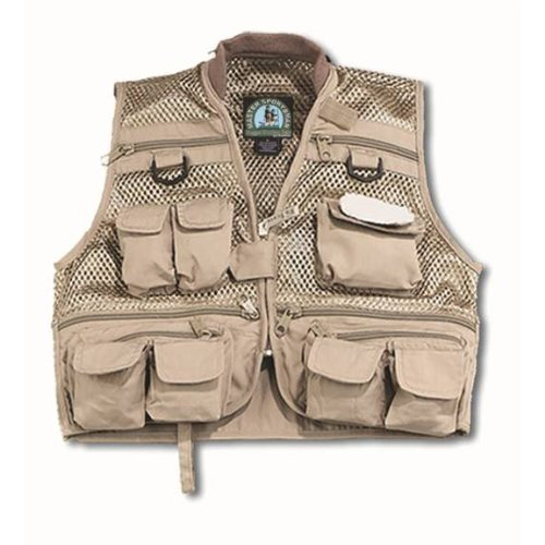 Master Sportsman Youth Mesh Fishing Vest (Khaki) Medium, Outdoor Stuffs