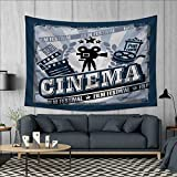 Anhuthree Movie Theater Tapestry Table Cover Bedspread Beach Towel Vintage Cinema Poster Design with Grunge Effect and Old Fashioned Icons Dorm Decor 71''x60'' Blue Black Grey