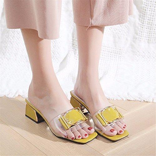 GAOQIANGFENG cool verano libre zapatillas y derrapes Señora aire Orange de al qrnTUtqHxw