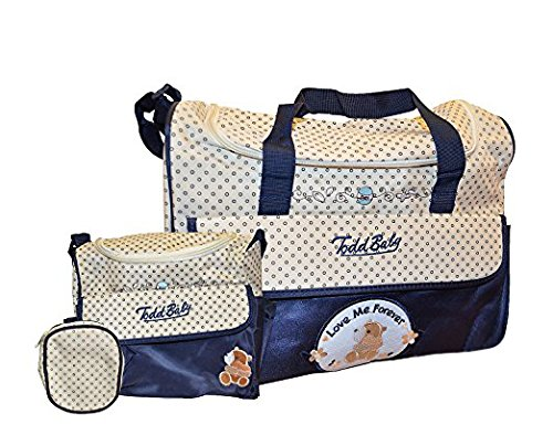 Todd Baby 4pc Food Bag Holder Set Diaper Nappy Changing Stylish Designed Strap Baby-Care Shoulder Bag (Blue)