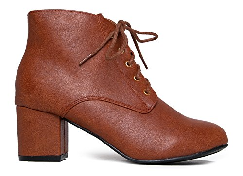 J. Adams Low Block Heel Ankle Boot - Casual Easy Lace up Bootie - Faux Suede Walking Shoe - Aubrey by Tan Pu 4fGuZuoawP