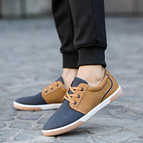 Hemlock Flat Shoes Mens, Men's Casual Shoes Sport Shoes Men Lace Up Loafers Moccasins Male Shoes (US:6, Blue) (Moccasin Heels)