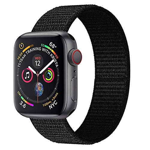 Hankn for Apple Watch Loop Band, Woven Nylon Replacement Breathable Band Loop Fastener Adjustable Closure Wrist Strap Band for Apple Watch Series 4 3 2 1 Sport Edition (Black, 42mm/44mm) ()