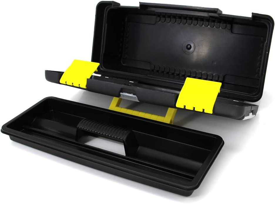 Utoolmart 11inchTool Box Plastic Multipurpose Portable Handled Includes Small Parts Boxes with Tray and Organizers Black 1pcs