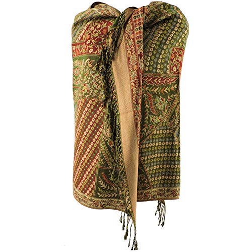 Silver Fever Pashmina - Jacquard Paisley Shawl - Stylish Scarf - Double Sided Wrap (Olive Patchwork)