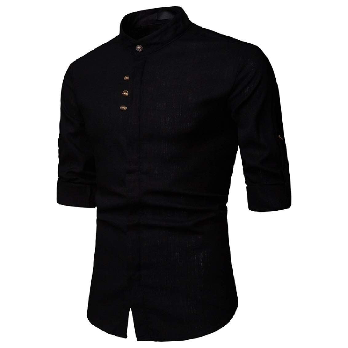 Fubotevic Mens Button Down Stand Collar Solid Color Long Sleeve Linen Classic-Fit Shirts