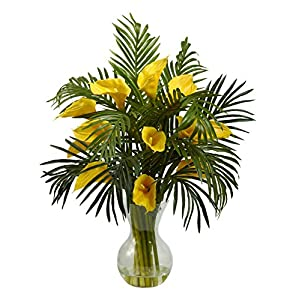 Artificial Flowers -Calla Lily and Palm Combo Arrangement Silk Flowers 18