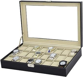 Moda 24 Slots Estuche para Relojes, Madera Exhibición De Relojes, Organizador De Relojes Caja De Almacenamiento: Amazon.es: Relojes