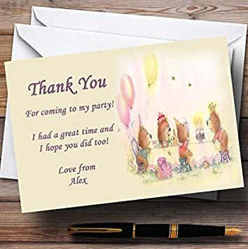 Personalised Photo Teddy Bear Picnic Birthday Party Thank You Cards inc Envelope