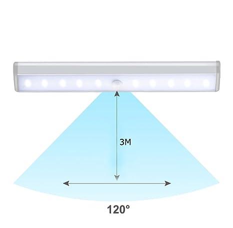 Barra de Luz LED con Sensor de Movimiento, 10 LED, lámpara recargable y inalámbrica con Tira Magnética, que puede pegar en la pared , activarse por ...