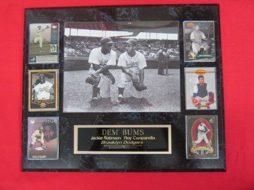 (Jackie Robinson Roy Campanella 6 Card Collector Plaque w/8x10 RARE VINTAGE Photo)