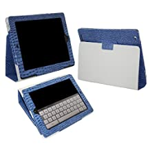 """iTALKonline PADWEAR CROCODILE BLUE Multi Function Multi Angle Luxury Executive Wallet Stand Cover Typing Case For Apple iPad 2 (2011) 2nd generation iPad 3 """"The New iPad Retina Display"""" (2012) 3rd Generation (Wi-Fi and Wi-Fi + 3G) 16GB 32GB 64GB"""