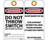 National Marker RPT14G Danger Do Not Throw Switch Men At Work On Circuit Tag